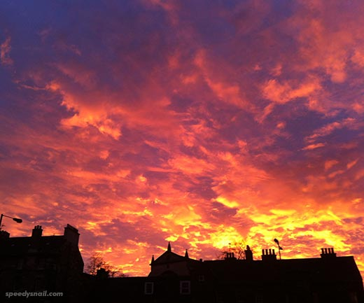 Sunset from Chambers St, Edinburgh, late 2013